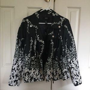 Petal Print Leather Jacket